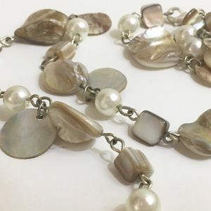"""Jewelry - 42"""" Abalone Seashell and Pearl Necklace"""